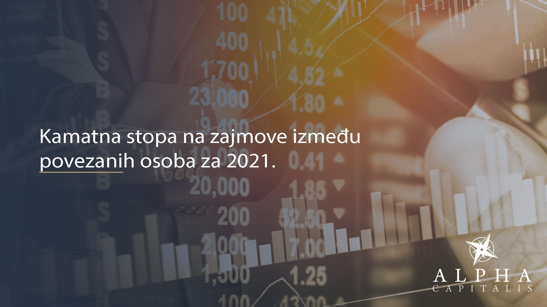 Kamatna stopa na zajmove između povezanih osoba za 2021.
